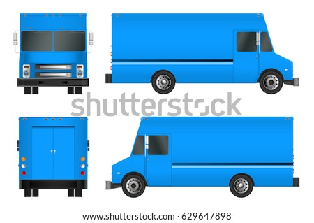truck template. Cargo van Vector illustration EPS 10 isolated on white background. City commercial vehicle delivery
