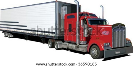 truck trailer isolated on white background vector illustration - stock vector
