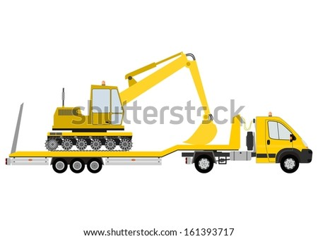 Truck-trailer loaded with an excavator on a white background.