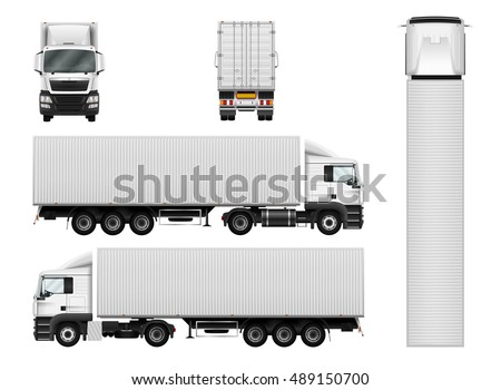 Truck trailer with container. Vector semi truck template on white. Cargo delivery vehicle. Separate groups and layers.
