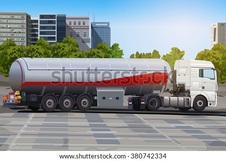 Truck with fuel on city street - stock vector