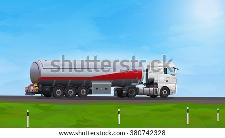 Truck with fuel on summer road - stock vector