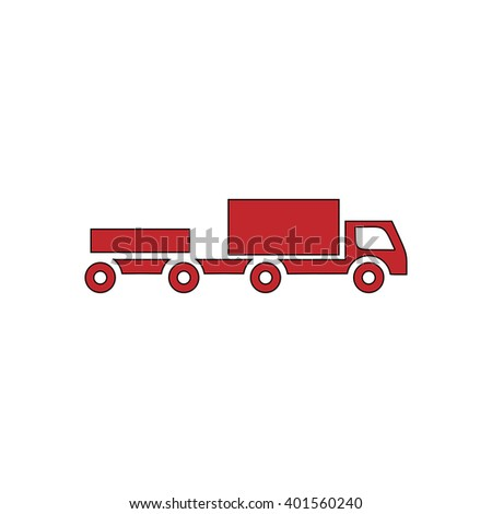 Truck with trailer. Red flat simple modern illustration icon with stroke. Collection concept vector pictogram for infographic project and logo