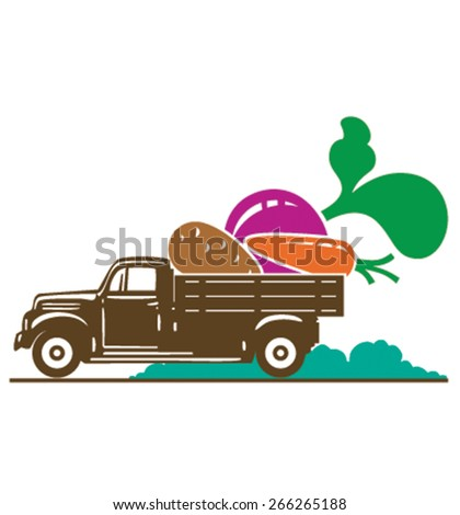 Truck with vegetable - carrot, potato, beet - stock vector