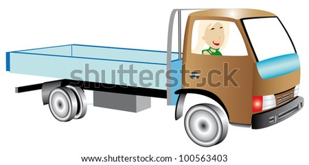 Truck with woman on white background. Woman truck driver leaning out the driver's side window.
