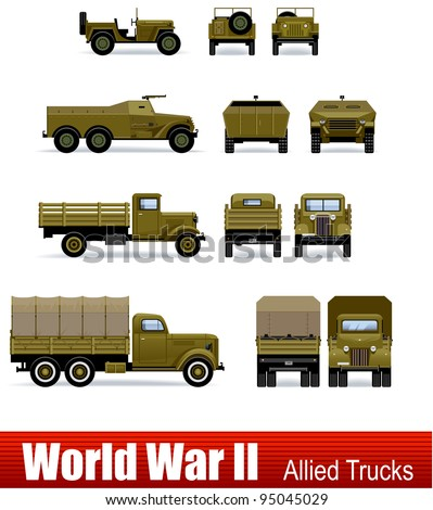 Trucks and APC in vector. WW2 series. - stock vector