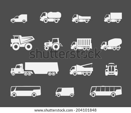 Trucks and buses flat icons set - stock vector