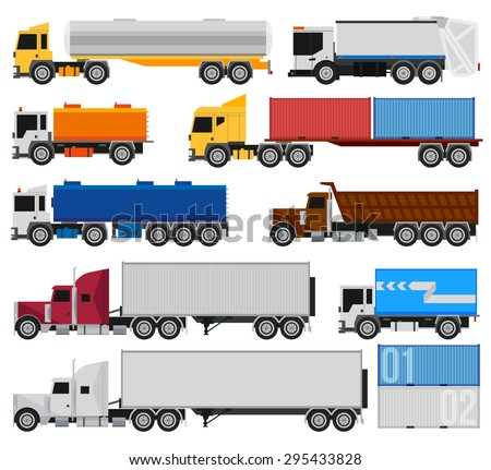 Trucks and trailers on a white background. Delivery and shipping cargo trucks and semi-trucks. For infographics or design - stock vector