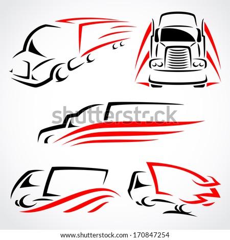 Trucks set. Vector  - stock vector