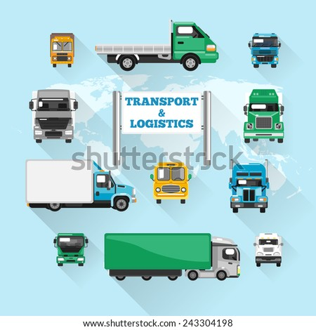 Trucks transport and logistics delivery icons flat with world map vector illustration - stock vector