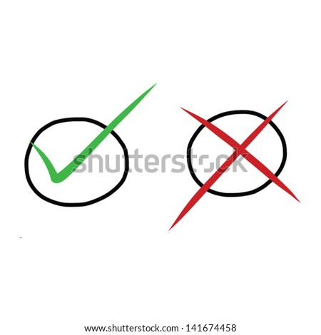 True and false drawing vector - stock vector