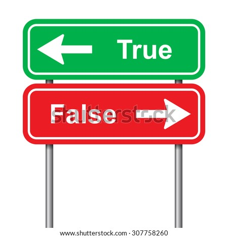 True and false green and red signal on a white background    - stock vector