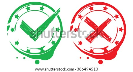 true and false rubber stamps  - stock vector
