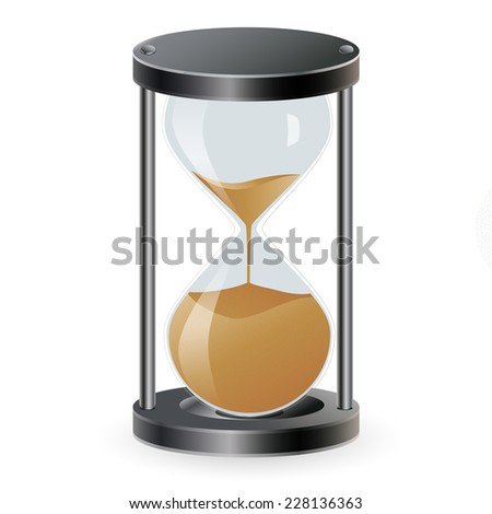 True transparent sand hourglass isolated on white background.