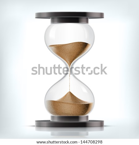True transparent sand hourglass isolated on white background. Simple and elegant sand-glass timer. Sand clock icon 3d illustration. - stock vector