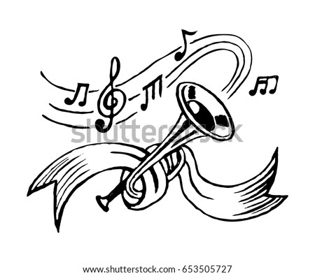 trumpet and notes tied with ribbon sketch vector