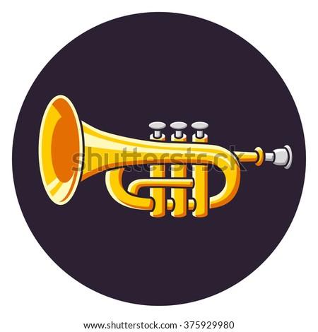 Trumpet icon. - stock vector