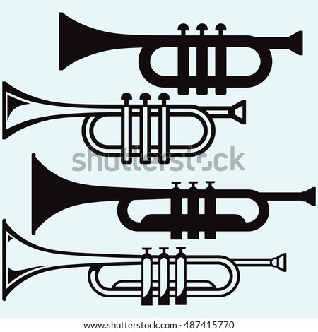 Trumpet, musical instrument. Isolated on blue background. Vector silhouettes