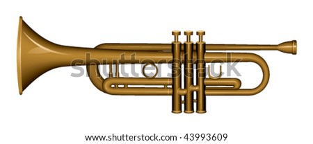 trumpet on a white background - stock vector