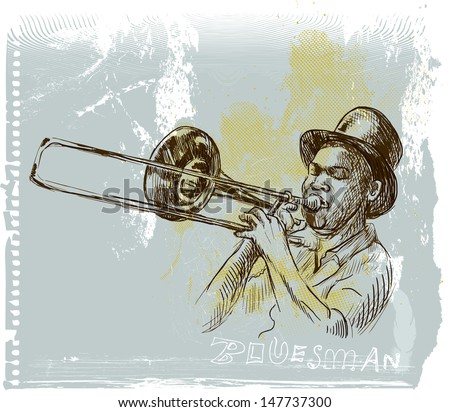 Trumpet player- An hand drawn illustration (sketch) converted into vector picture. - stock vector