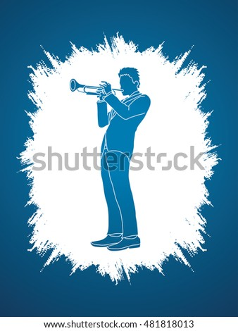 Trumpet player designed on grunge frame background graphic vector.