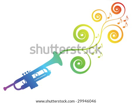 Trumpet silhouette with floral elements. Music theme. - stock vector