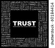 TRUST. Word collage on black background. Illustration with different association terms. - stock vector