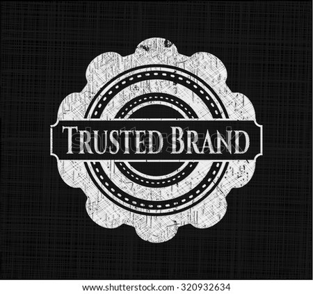 Trusted Brand chalkboard emblem on black board - stock vector
