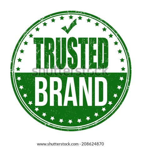 Trusted brand grunge rubber stamp on white, vector illustration - stock vector