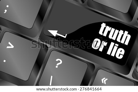 truth or lie button on computer keyboard key vector - stock vector