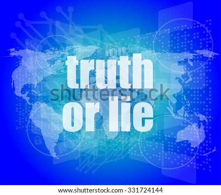 truth or lie text on digital touch screen interface vector illustration - stock vector