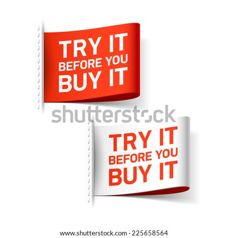 Try it before you buy it label. Vector. - stock vector