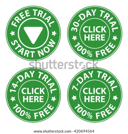 Try, trial buttons set, vector