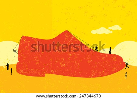 Trying to fill big shoes Business people trying to figure out how to fill the very large shoes of their former leader. The people and shoe are on a separate labeled layer from the background. - stock vector