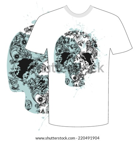 Tshirt skull and flower abstract vector - stock vector