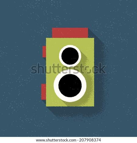 TSLR Analog Film Retro Camera - Vector Illustration - Flat Design - stock vector