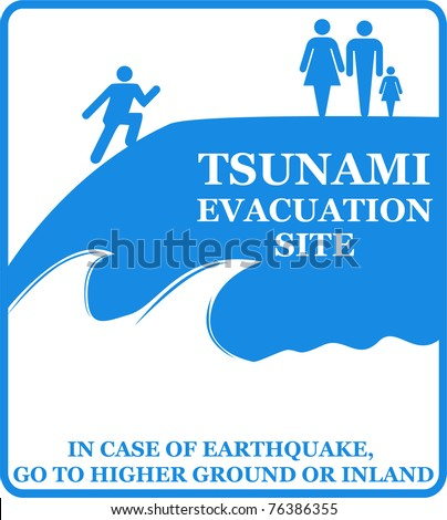Tsunami evacuation sign. Vector - stock vector