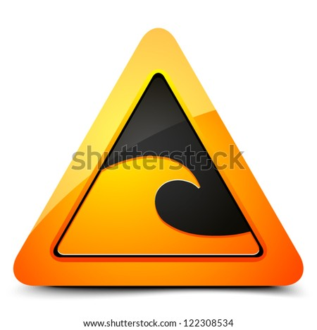 Tsunami hazard sign - stock vector