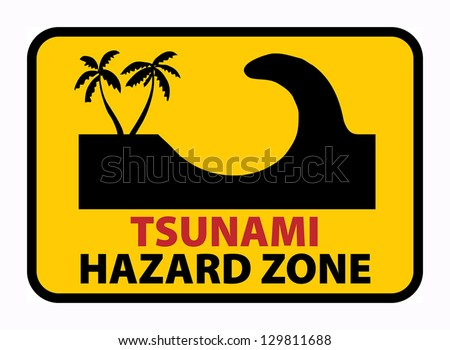 Tsunami Hazard Zone, vector illustration - stock vector