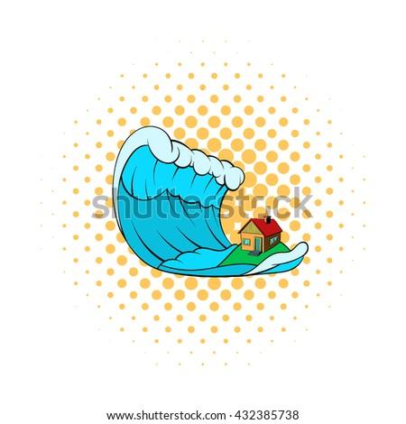 Tsunami icon - stock vector