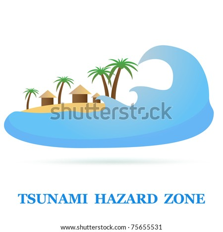 Tsunami Icon isolated on white. Vector