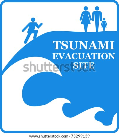 Tsunami Information Sign Isolated on White. Vector - stock vector