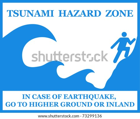 Tsunami Warning Signs Showing Evacuation Route Stock - Www