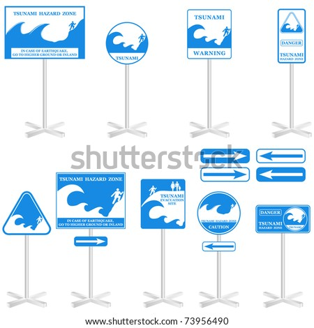 TSUNAMI Vector Pole sign Set: -  isolated on white. Gives you information about the possible danger. Ready to print - stock vector