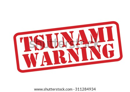 TSUNAMI WARNING red Rubber Stamp Vector over a white background. - stock vector