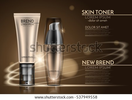 Tube and tone skin cream bottle. The design of cosmetics on yellow background. Vector illustration