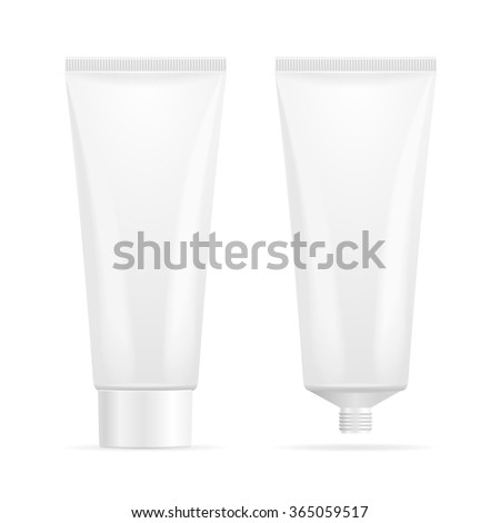 Tube Mock-Up For Cream. Open and Closed. Vector illustration
