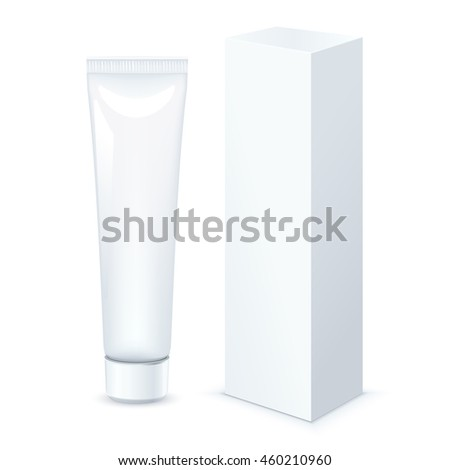 Tube of Toothpaste, Cream Or Gel with packing box Grayscale White Clean. Vector - stock vector