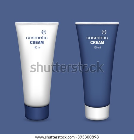 Tubes of Cream. Set on a Blue Background. Ready for Your Design. Mesh Gradient and Transparency was Used.
