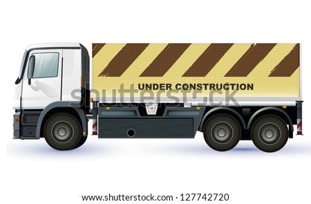tuck or lorry with under construction image. vector design to place your concept - stock vector
